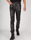 povoljno Zentai odijela-Zentai odijela Hlače Catsuit Djevojka za motocikle Odrasli Lateks Cosplay Nošnje Cosplay Halloween Muškarci Crn Jednobojni Halloween Maškare / Odijelo za kožu / Odijelo za kožu
