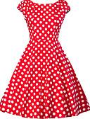 ราคาถูก ชุดเดรสวินเทจ-สำหรับผู้หญิง ขนาดพิเศษ ไปเที่ยว 1950s รูปตัว เอ แต่งตัว - ลายพิมพ์, ลายจุด ยาวถึงเข่า คอวี