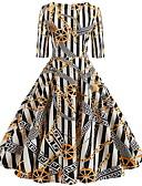 olcso Női ruhák-Női Elegáns A-vonalú Ruha - Nyomtatott Térdig érő