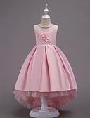 Χαμηλού Κόστους Λουλουδάτα φορέματα για κορίτσια-Πριγκίπισσα Ασύμμετρο Φόρεμα για Κοριτσάκι Λουλουδιών - Σατέν / Τούλι Αμάνικο Με Κόσμημα με Χάντρες / Διακοσμητικά Επιράμματα / Κρυστάλλινη λεπτομέρεια