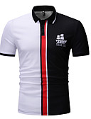 ราคาถูก เสื้อโปโลสำหรับผู้ชาย-สำหรับผู้ชาย Polo ฝ้าย คอเสื้อเชิ้ต ลายบล็อคสี ขาว
