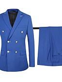 billige Dresser-Marineblå / Svart / Akvamarin Ensfarget Standard Bomull / polyster Dress - Spiss Dobbeltkneppet med seks knapper / drakter