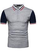 ราคาถูก เสื้อโปโลสำหรับผู้ชาย-สำหรับผู้ชาย Polo คอเสื้อเชิ้ต ลายบล็อคสี สีดำ