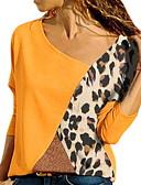 cheap Women's Clothing-Women's Slim Blouse - Color Block V Neck Blue