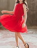 זול שמלות לבנות-שמלה ללא שרוולים קפלים אחיד פעיל / מתוק בנות ילדים / פעוטות / כותנה