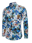baratos Camisas Masculinas-Homens Camisa Social Floral Azul