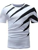 ราคาถูก เสื้อยืดและเสื้อกล้ามผู้ชาย-สำหรับผู้ชาย เสื้อเชิร์ต คอกลม ลายแถบ ขาว