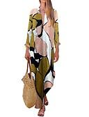 ราคาถูก เสื้อเอวลอยสำหรับผู้หญิง-สำหรับผู้หญิง สวิง แต่งตัว - ลายพิมพ์, รูปเรขาคณิต ไม่สมดุล