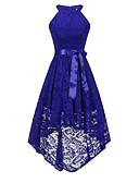 olcso Estélyi ruhák-Női Vintage Elegáns Csipke Hüvely Swing Sellő fazon Ruha - Csipke Csokor, Egyszínű Midi Terített nyak Dusty Rose