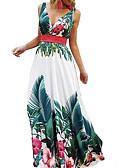 ราคาถูก เดรสผู้หญิง-สำหรับผู้หญิง พื้นฐาน เพรียวบาง รูปตัว เอ แต่งตัว - ลายพิมพ์, ลายดอกไม้ ขนาดใหญ่ คอวีลึก