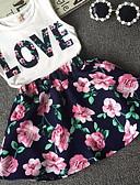 ราคาถูก ชุดเสื้อผ้าเด็กผู้ชาย-เด็ก เด็กผู้หญิง ลายดอกไม้ ลายพิมพ์ กระโปรงชุด ขาว