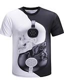 billige Kjoler med trykk-Rund hals Store størrelser T-skjorte Herre - Fargeblokk / 3D / Hodeskaller, Trykt mønster Grunnleggende / overdrevet Hvit / Kortermet / Sommer