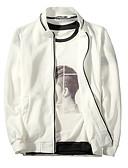 זול גברים-ג'קטים ומעילים-בגדי ריקוד גברים יומי בסיסי רגיל ג'קט, אחיד עומד שרוול ארוך פוליאסטר לבן / שחור