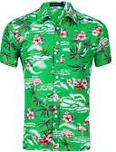 ราคาถูก เสื้อเชิ้ตผู้ชาย-สำหรับผู้ชาย ขนาดของยุโรป / อเมริกา เชิร์ต ลายพิมพ์ รูปเรขาคณิต สีเขียวอ่อน