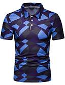 ราคาถูก เสื้อโปโลสำหรับผู้ชาย-สำหรับผู้ชาย Polo คอเสื้อเชิ้ต ลายบล็อคสี สีน้ำเงิน