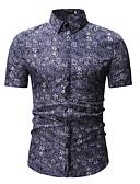 baratos Camisas Masculinas-Homens Camisa Social Jacquard / Estampado, Geométrica / Tribal Colarinho Clássico Azul
