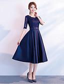 ราคาถูก Special Occasion Dresses-อัญมณี ต่ำกว่าเข่า ลูกไม้ / ซาติน เพื่อนเจ้าสาวชุด กับ โบว์ โดย LAN TING Express