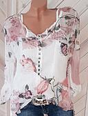 ราคาถูก เสื้อแจ็กเก็ตสำหรับผู้หญิง-สำหรับผู้หญิง ขนาดพิเศษ เสื้อสตรี Street Chic ลายพิมพ์ คอวี ลายดอกไม้ ขาว / ฤดูใบไม้ผลิ / ฤดูร้อน / ตก