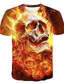 billige T-skjorter og singleter til herrer-Rund hals T-skjorte Herre - Hodeskaller, Trykt mønster Grunnleggende / Gatemote Klubb Gul / Kortermet
