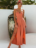 ราคาถูก จั๊มสูทและเสื้อคลุมสำหรับผู้หญิง-สำหรับผู้หญิง Street Chic ไหล่ตก สีดำ ส้ม ขากว้าง ชุด Jumpsuits Onesie, สีพื้น S M L