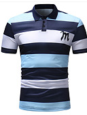 baratos Pólos Masculinas-Homens Polo Listrado Algodão Colarinho de Camisa Azul / Manga Curta / Verão