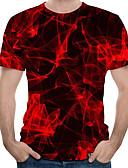 povoljno Muške polo majice-Majica s rukavima Muškarci 3D Okrugli izrez Red