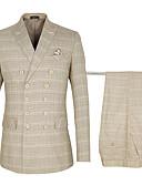 billige Smokings-Kakifarget rutete Standard Bomull / polyster Dress - Spiss Dobbeltkneppet med seks knapper / drakter