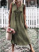 Χαμηλού Κόστους Γυναικεία Φορέματα-Γυναικεία Φαρδιά Σε γραμμή Α T Shirt Πουκάμισο Φόρεμα Ασύμμετρο Γιακάς Peter Pan