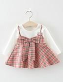 זול אוברולים טריים לתינוקות לבנים-שמלה כותנה מעל הברך שרוול ארוך טלאים אחיד / משובץ בסיסי בנות תִינוֹק / פעוטות