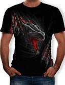 baratos Camisetas & Regatas Masculinas-Homens Camiseta Estampado, 3D / Animal / Desenho Animado Decote Redondo Preto