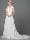 Χαμηλού Κόστους Φορέματα Χορού Αποφοίτησης-Γραμμή Α Με Κόσμημα Ουρά Σατέν σιφόν Αμάνικο Φορέματα γάμου φτιαγμένα στο μέτρο με Με διαδοχικές σούρες 2020