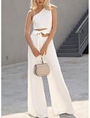 Χαμηλού Κόστους Print Dresses-Γυναικεία Μαύρο Κρασί Λευκό Πλατύ Πόδι Φόρμες Ολόσωμη φόρμα, Μονόχρωμο Τ M L