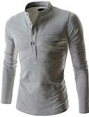 baratos Camisas Masculinas-Homens Polo Sólido Algodão Cinzento Escuro