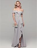 Χαμηλού Κόστους Βραδινά Φορέματα-Ίσια Γραμμή Ώμοι Έξω Μακρύ Spandex Κομψό & Πολυτελές Χοροεσπερίδα / Επίσημο Βραδινό Φόρεμα 2020 με Τεχνητό διαμάντι / Με Άνοιγμα Μπροστά