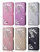 billiga Mobiltelefon kablar-fodral Till Samsung Galaxy S9 / S9 Plus / S8 Plus Plånbok / Korthållare / Strass Fodral Glittrig / Bergkristall / Blomma Hårt PU läder