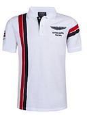 ราคาถูก เสื้อโปโลสำหรับผู้ชาย-สำหรับผู้ชาย Polo คอเสื้อเชิ้ต เพรียวบาง ลายบล็อคสี ขาว