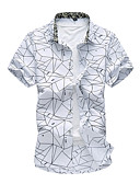 ราคาถูก เสื้อเชิ้ตผู้ชาย-สำหรับผู้ชาย ขนาดพิเศษ เชิร์ต ลายแถบ ขาว