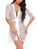 ราคาถูก สไตลตุ๊กตาเบบี้-สำหรับผู้หญิง ลูกไม้ Sexy เสื้อคลุม เสื้อนอน ลายดอกไม้ / ลายพิมพ์ / สีพื้น สีดำ ขาว S M L