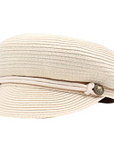 ราคาถูก หมวกสตรี-สำหรับผู้หญิง สีพื้น เส้นใยสังเคราะห์ พื้นฐาน-หมวกเบสบอล ขาว สีดำ ผ้าขนสัตว์สีธรรมชาติ