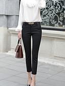 Χαμηλού Κόστους Γυναικείες Φούστες-Γυναικεία Βασικό Παντελόνι επίσημο Παντελόνι - Μονόχρωμο Ψηλή Μέση Βαμβάκι Λευκό Μαύρο Βαθυγάλαζο L XL XXL