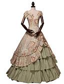 billiga Aftonklänningar-Prinsessa Rokoko Victoriansk 18th Century Klänningar Festklädsel Kostym Dam Cotton Kostym Brun Vintage Cosplay Maskerad Fest / afton Kortärmad Golvlång Lång längd Plusstorlekar