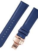 זול רצועת שעונים-עור אמיתי / עור / Calf Hair צפו בנד רצועה ל כחול 17cm / 6.69 אינץ ' / 18cm / 7 אינצ'ים / 19cm / 7.48 אינצ'ים 1cm / 0.39 אינצ'ים / 1.2cm / 0.47 אינצ'ים / 1.3cm / 0.5 אינצ'ים