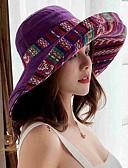ราคาถูก หมวกสตรี-สำหรับผู้หญิง พิมพ์ดอกไม้ ฝ้าย เส้นใยสังเคราะห์ ซึ่งทำงานอยู่ สไตล์น่ารัก-ดวงอาทิตย์หมวก ตก ฤดูหนาว สีน้ำเงินกรมท่า สีม่วง สีเหลือง
