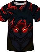baratos Camisetas & Regatas Masculinas-Homens Camiseta Desenho Animado Decote Redondo Delgado Branco