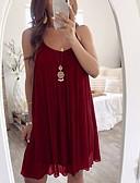 ราคาถูก เสื้อเอวลอยสำหรับผู้หญิง-สำหรับผู้หญิง พื้นฐาน รูปตัว เอ แต่งตัว สีพื้น ยาวถึงเข่า