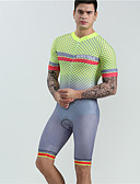 Χαμηλού Κόστους Εξωτικά ανδρικά εσώρουχα-BOESTALK Ανδρικά Κοντομάνικο Φανέλα και σορτς ποδηλασίας Ολόσωμη στολή για τρίαθλο Μαγιό Ασημί+Πορτοκαλί Καρό Ποδήλατο Αναπνέει Πίσω τσέπη Αθλητισμός Spandex Καρό Ποδηλασία Βουνού Ποδηλασία Δρόμου