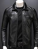 ราคาถูก แจ็กเก็ต &เสื้อโค้ทผู้ชาย-สำหรับผู้ชาย ทุกวัน ฤดูใบไม้ผลิ ปกติ แจ็ดเก็ตหนัง, สีพื้น Turndown แขนยาว หนังเทียม สีดำ