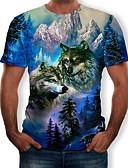baratos Camisetas & Regatas Masculinas-Homens Camiseta Estampado, 3D / Animal Decote Redondo Azul