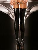 baratos Meias & Meias Calças-Mulheres Super Sexy Meião - Sólido Fina Preto Tamanho Único