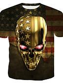 billige Poloskjorter til herrer-Bomull Rund hals T-skjorte Herre - 3D / Hodeskaller, Trykt mønster Gull